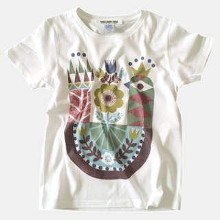 Geometric bird illustration Print T-shirt- White x Green - women's/men's/unisex
