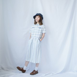 VINTAGE BLUE STRIPED SHIRT-DRESS