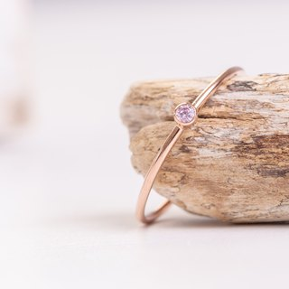 FINLAND Pink dainty Ring in 14k Rose Gold-Filled and Pink Zircon stone
