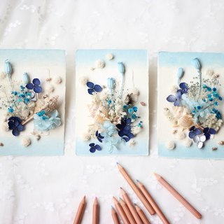 Handkerchief Dry Flower High Quality Card Set - Sea Blue