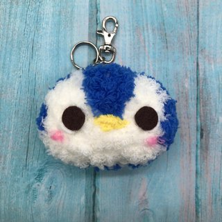 Penguin - chubby wool animal key ring charm