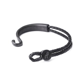 Recovery hook and woven bracelet (bright silver / black silver)