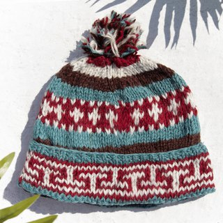 Christmas gift emergency gift exchange gift limited a hand-woven wool hat / knitted wool cap / inner bristles hand-woven wool cap / wool cap / hand-knitted hat - South America Machu Picchu Colorful contrast stripes
