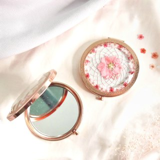 Pressed Flower Dreamcatcher Compact Mirror | Pink & Rose Gold