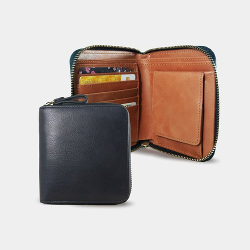 Influxx Montage Leather Bi-fold Zipper Wallet - Autumn Orange