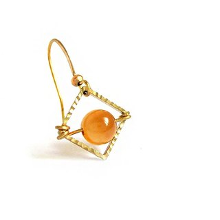[Na UNA- excellent hand-made] Huang Jinhu square basket empty eye - copper earhook brass customization natural stones