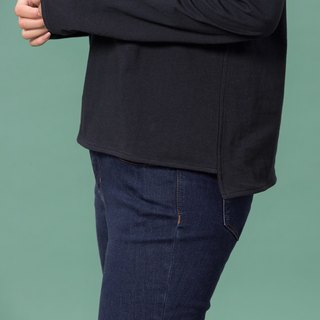 Organic cotton blouse black round neck long sleeve / short front long (woman / woman)
