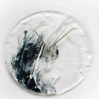 [Sea of ​​Waves, Transparent, Handmade Wall Clock] 30cm