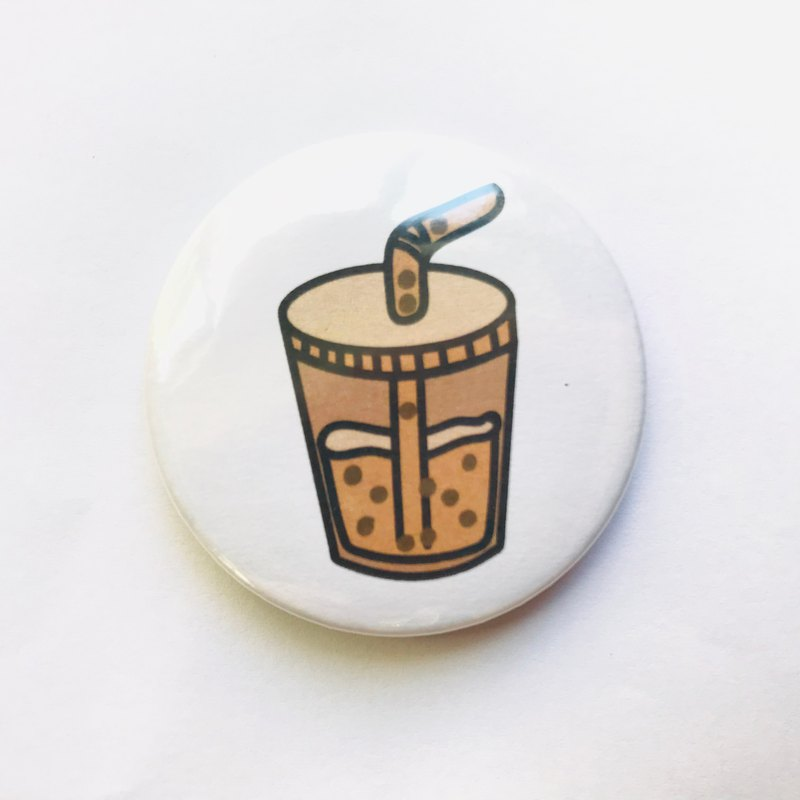 Taiwanese classic snack food illustration pattern badge / pin - pearl milk tea