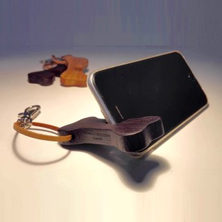 Give you encourage bone shape mobile phone holder with Ray carved custom-made angle-adjustable black chicken wing wood