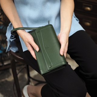 EVE (Green) : Long wallet, cow leather wallet