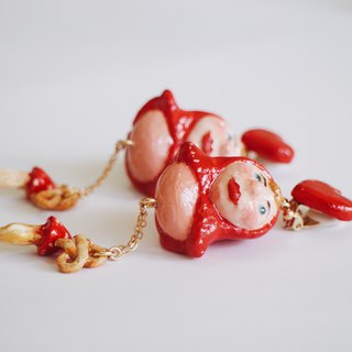 Fairy Tale Series - Fun Little Red Riding Hood Clay Earrings