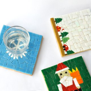 Santa Claus/ Handmade Mosaic Decorative Painting/ Wood coasters / christmas gift