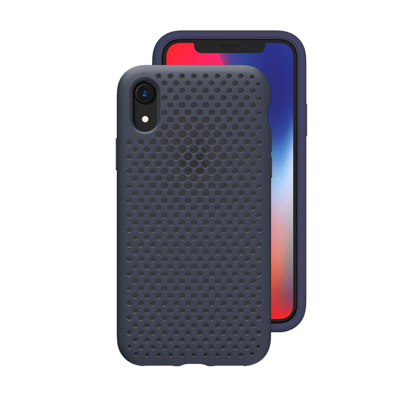 AndMesh-iPhone XR dot soft anti-collision protective cover - navy blue (4571384959278
