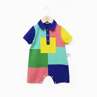Original design cotton color stitching polo collar baby jumpsuit summer short-sleeved romper