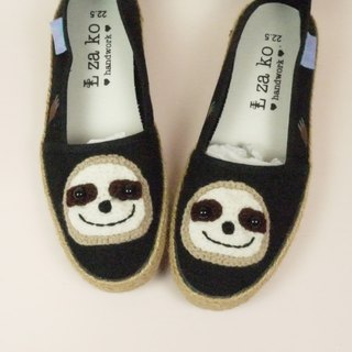 Black cotton hand made canvas shoes, healing lazy models, weaving models