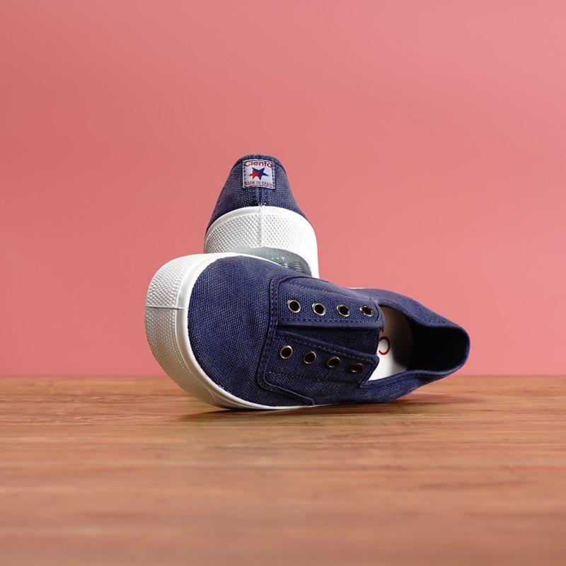 西班牙國民帆布鞋 CIENTA 大人尺寸 洗舊 深藍色 香香鞋 10777 84