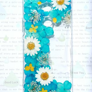 Pressed flowers phone case, Sony Xperia XA2 Ultra, Elegant blue