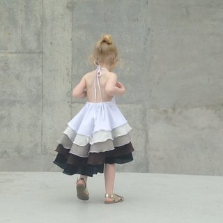 Girls Ombré Flamenco Party Dress in Coffee 3-5 Years