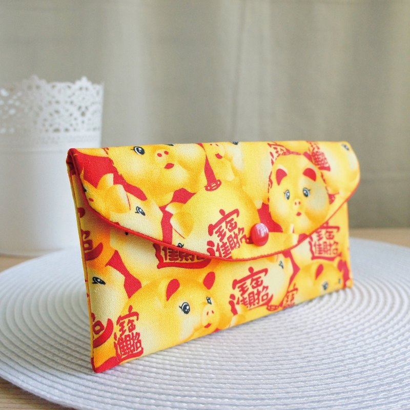 Lovely digital cloth [Zhong Cai Jin Bao photo pig red bag] passbook sleeve, cash storage bag, red