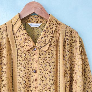 ... {acorn girl :: ancient dress} dark yellow brown brown floral sleeve in the shirt