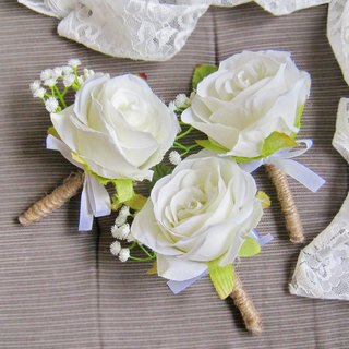 Wedding Boutonniere Silk Wedding Boutonniere Groom buttonhole, Groomsmen B004B