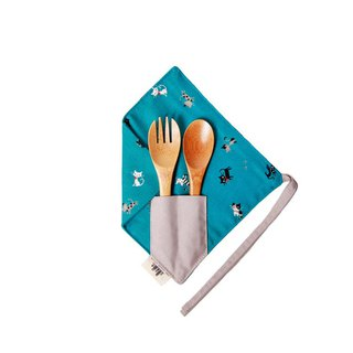 [One corner simple chopstick set] - willing to be a cat slave (blue) - cotton cute chopsticks set