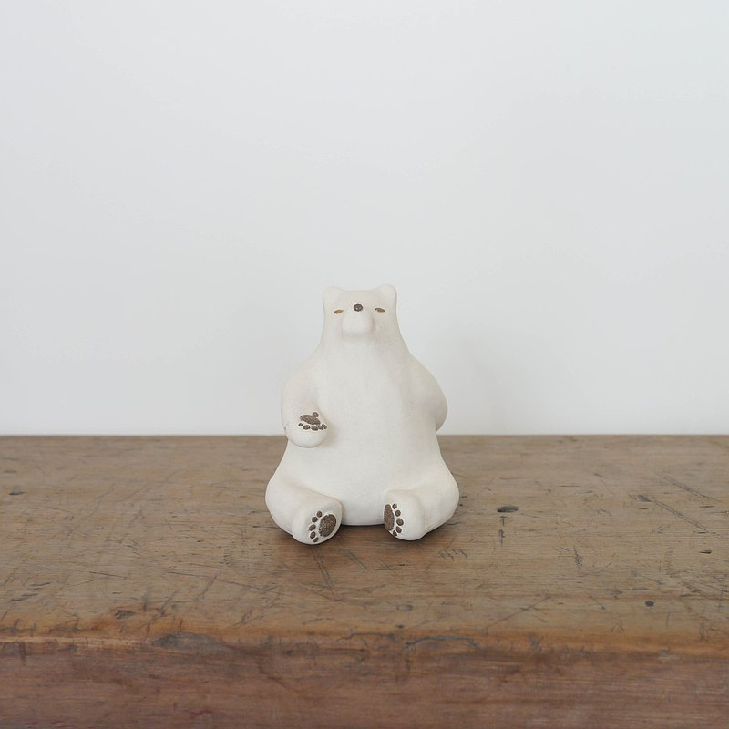 Little Bear Pottery Puppets | White Bear Drying Flowers