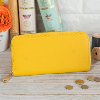Japan manufactured cowhide packaging yellow Weinheimer made in JAPAN handmade leather wallet