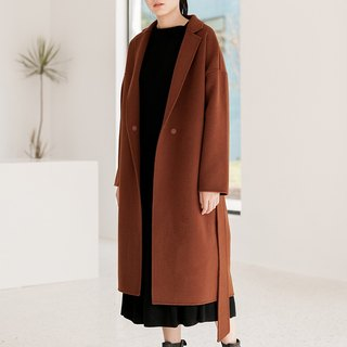 Caramel color LESS IS MORE minimalist coat imported Australian wool handmade double-sided cashmere wool coat
