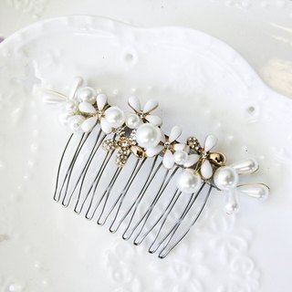Bridal headdress faux pearl section comb