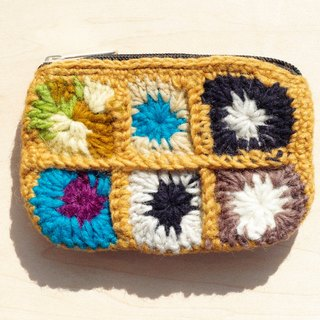 Limited manual pure wool crochet rectangular purse / storage bag / cosmetic bag - desert colors flowers forest wind