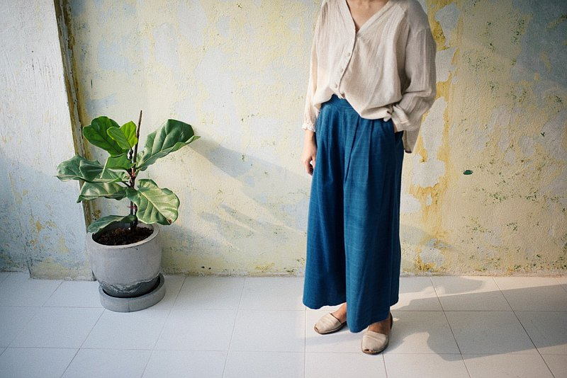 wide-leg trousers | handwoven indigo dyed cotton |