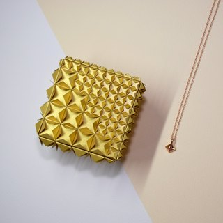 Unique Delicate Origami Golden Diamond Jewel Box