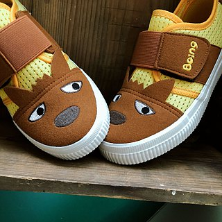 Mesh Big Wolf Children's Sneakers - Yellow (萌萌大狼)