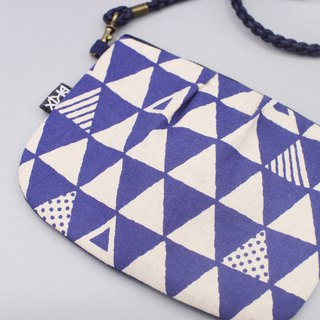 Safety side backpack - blue geometric triangle, feel cotton, double-sided double back