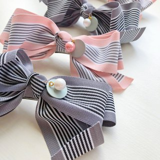 Striped Balloon Dog Family Pearl Mother and Daughter Hair Clip (Sold in Pairs)