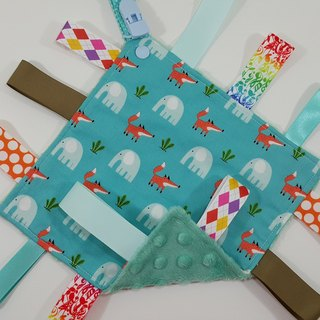 Elephants and fox apprehensive towels/blue-green