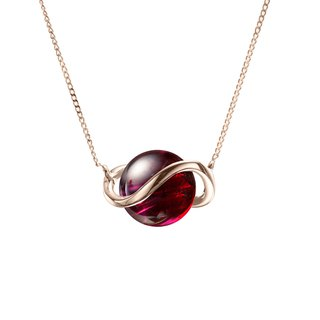 Garnet Necklace in 14k Gold, January Birthstone Pendant, Red Stone