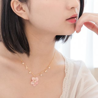 Real flower Cherry Blossom Necklace 18KGP chain