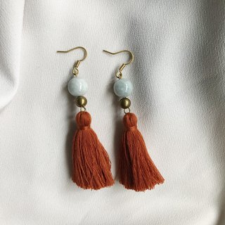 Simple Jade Brass Tassel Earrings