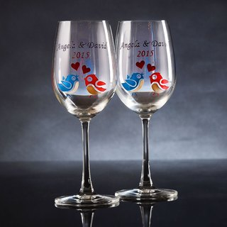 My Crystal Red Wine Glasses - Birds ( including engraved names & date )