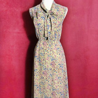 Flower bow tie sleeveless vintage dress / abroad brought back VINTAGE