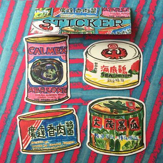 Canned sticker set with porridge and rice
