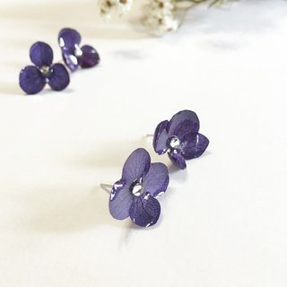 Stereo flower embroidery flower sterling silver earrings