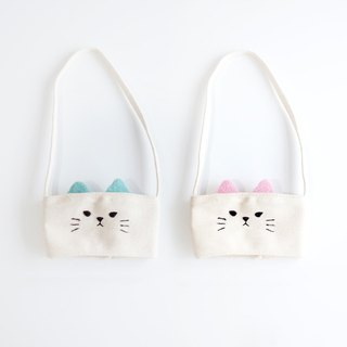 [Q-cute] hollow drink bag series - small cup pink cat