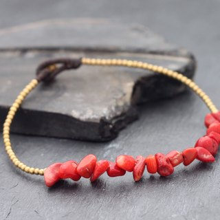Red Coral Stone Delicate Anklets Woven Beaded Stone Skinny Petite Hipster