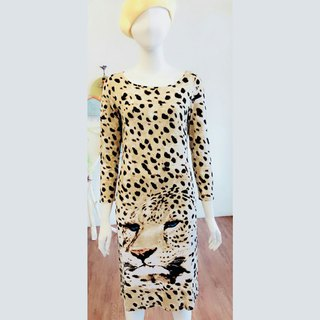 Late summer specials ~ long sleeve narrow dress - tiger leopard