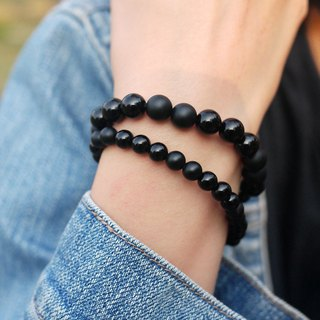 Natural Stone Bracelet - Chaplin 8mm (Ore / Black Agate / Personality / Accessories / Black / Gift)