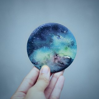 Etcetera《Starry night》 (Watercolor illustration) Mini Round Mirror